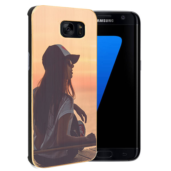 Carcasa rígida de madera con foto Galaxy S7 Edge