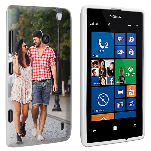 Coque rigide personnalisée Nokia Lumia 520 noire, blanche ou transparente